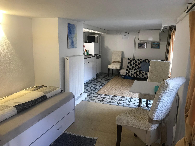 Schlaf-/Wohnzimmer mit ausziehbarem Bett und einfachem Klappsofa