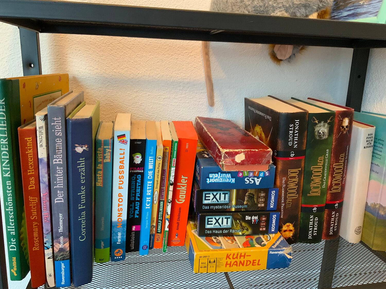 Regal mit Büchern und Spielen